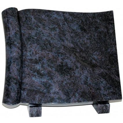 Parchemin en granit maes blue Décorations funéraires - Plaque tombale pas cher