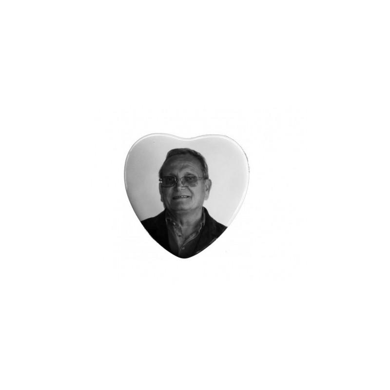 Photo porcelaine noir et blanc cœur 10x10 cm Accessoires - Plaque tombale pas cher
