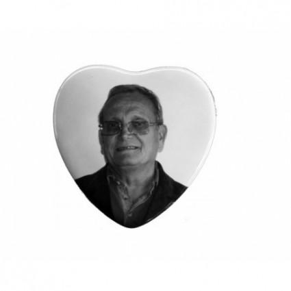 Photo porcelaine noir et blanc cœur 8x8 cm Accessoires pas cher - Plaques tombales personnalisées