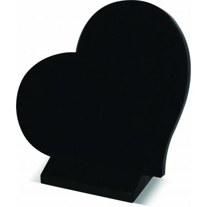 Plaque cœur sur socle noir fin Plaques Funéraires Personnalisées en Marbre ou Granit - Plaque tombale pas cher