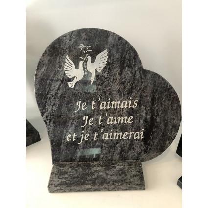 PLAQUE CŒUR PL2030 Plaques Funéraires Personnalisées en Marbre ou Granit - Plaque tombale pas cher
