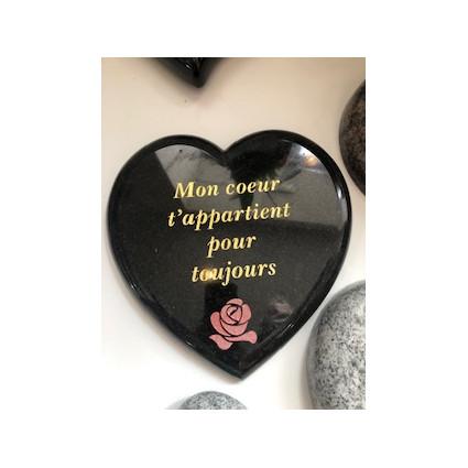 cœur en granit gravure feuille or Décorations funéraires - Plaque tombale pas cher