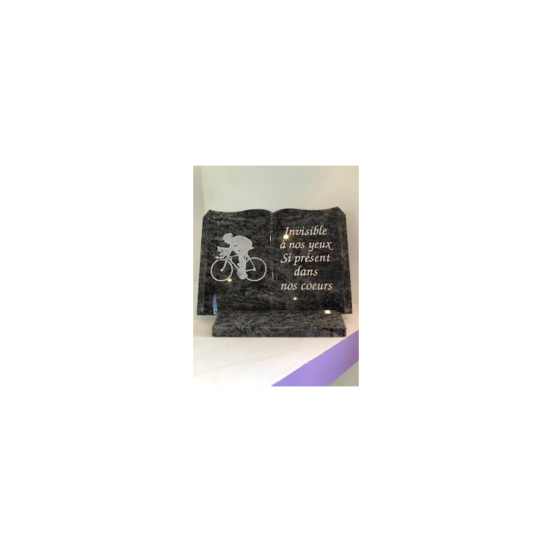 LIVRE SUR SOCLE THEME CYCLISTE Plaques Funéraires Personnalisées en Marbre ou Granit - Plaque tombale pas cher
