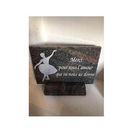 Plaque en granit thème danseuse Plaques Funéraires Personnalisées en Marbre ou Granit - Plaque tombale pas cher