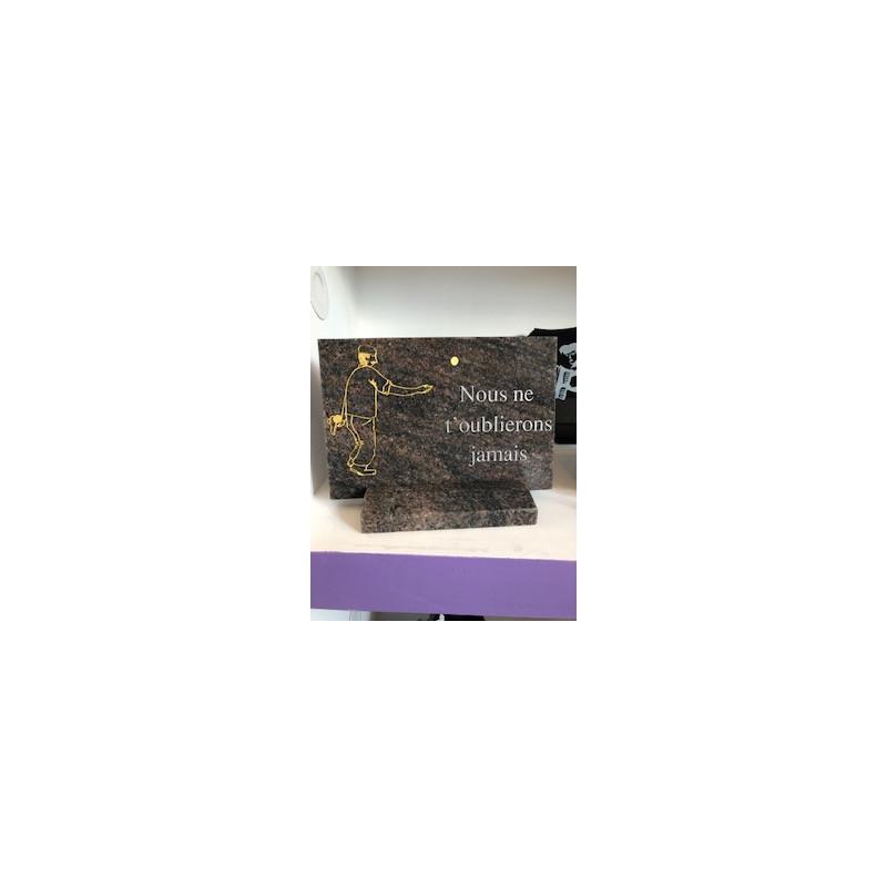 Plaque sur socle thème pétanque Plaques Funéraires Personnalisées en Marbre ou Granit - Plaque tombale pas cher